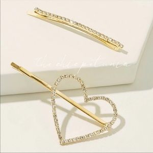 2️⃣ Rhinestone engraved gold heart hairpins 2 sets